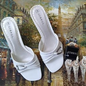 George Slip On White Sandals with heels for women